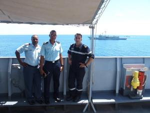 Seychelles coast guards onboard FS Var during search and rescue combined exercise.