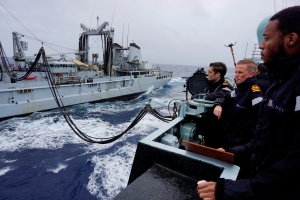 HMS Richmond Commanding Officer, Cdr. Anderson and his crew, monitoring replenishment at sea made by FS Var, CTF150 flagship.