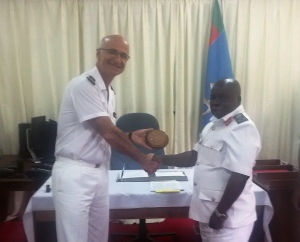 Meeting between Capt Crignola, Commander CTF-150 and Brigadier General (BG) Hi Majumba, Deputy Commander of the Tanzanian Navy, on May 11, during CTF-150 flagship FS Var port visit in Dar Es Saalam, Tanzania.