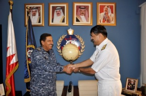 Commodore Asif Hameed and Brigadier General Khalifa Bin Abdullah Khalifa, Commander of the Royal Bahrain Naval Force, exchanged official gifts as a sign of friendship between CMF and the Royal Bahrain Naval Force
