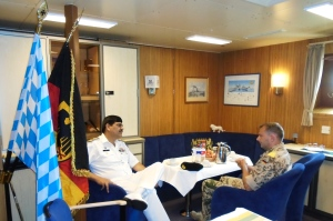 Cdre Siddique meets Cdr Frank Fahnrich of the FGS BAYREN of CTF465 European Naval Forces