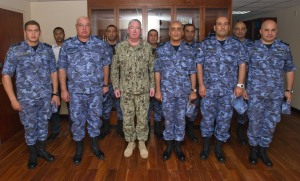Rear Admiral Ahmed Mafereh (Second from Left) and Rear Admiral Gamal Ibrahim (Fourth from left) accompanied by the Commanding Officers of the visiting ships were hosted by Vice Admiral Miller at his headquarters.