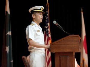 Rear Admiral Ito speaking at the CTF151 CoC
