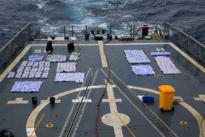 Seized narcotics are laid out on HMAS Newcastle's flight deck in preparation for destruction at sea as the ship and crew carry out maritime security patrols in the Indian Ocean in support of Operation MANITOU. *** Local Caption *** On 1 April 2015, HMAS Newcastle deployed to the Middle East region for 6 months in support of Operation MANITOU.  Royal Australian Navy ships have been continuously deployed to the Middle East since the start of the first Gulf War in 1990. HMAS Newcastle and her crew have commenced the 60th rotation and marks the fifth time HMAS Newcastle has deployed to the Middle East. Operation MANITOU is the Maritime Security Operation in the Middle East region and is Australia's contribution to counter terrorism, counter piracy and narcotics interdiction improving overall stability to that region, including the Persian Gulf, the Gulf of Aden, the Red Sea and parts of the Indian Ocean.