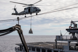 Vertical replenishment (VERTREP) with Newcastle's Seahawk helicopter, onboard FS Var.