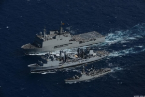 Aerial view of a double replenishment at sea  conducted by CTF-150 flagship FS Var for the benefit of Spanish ships Galicia (left) and Infanta Cristina (right), both involved in European Union Naval Force Atalanta