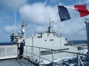 Spanish Ship Galicia and French ship Var side by side during replenishment at sea in the Indian Ocean.
