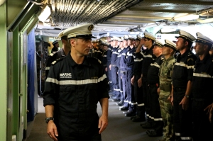 Change of command ceremony onboard FS Var, CTF-150 flagship, held by Commander of CTF-150 Captain René-Jean Crignola