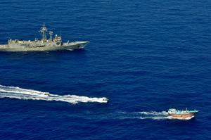 HMAS Newcastle's sea boats approach a dhow for a flag verification as part of operations involving narcotics interdiction off the east coast of Africa. HMAS Newcastle is tasked to carry out maritime security patrols in the Indian Ocean in support of Operation MANITOU. *** Local Caption *** On 1 April 2015, HMAS Newcastle deployed to the Middle East region for 6 months in support of Operation MANITOU.  Royal Australian Navy ships have been continuously deployed to the Middle East since the start of the first Gulf War in 1990. HMAS Newcastle and her crew have commenced the 60th rotation and marks the fifth time HMAS Newcastle has deployed to the Middle East. Operation MANITOU is the Maritime Security Operation in the Middle East region and is Australia's contribution to counter terrorism, counter piracy and narcotics interdiction improving overall stability to that region, including the Persian Gulf, the Gulf of Aden, the Red Sea and parts of the Indian Ocean.