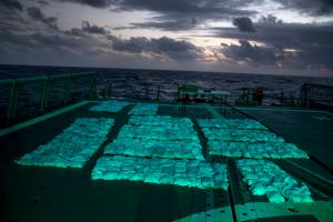 Narcotics from the fifth and largest HMAS Newcastle seizure to date on Newcastle's flight deck
