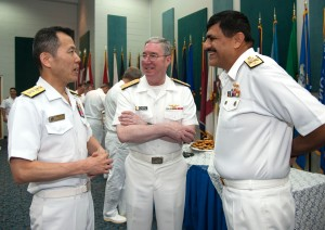 CTF151 CoC RAdm Ito, VAdm Miller and Cdre Siddique