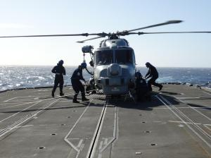 HMS Richmond's helicopter prepares to search for smugglers