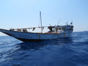 A suspect dhow about to be boarded