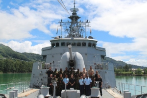 The Seychelles Coast Guard with their hosts onboard TEK, at the buoy in the Seychelles.