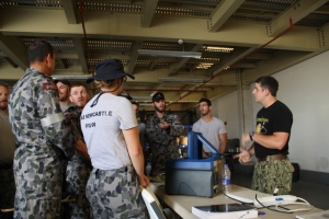 U.S. COAST GUARD MARITIME ENGAGEMENT TEAM (April 29th, 2015) Providing hand's on training to the VBSS team from the HMAS NEWCASTLE.  Students were trained on the CT-30 Kit and IONSCAN device during their workup.