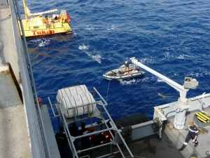 On board German catamaran Tukan, some FS Var crew members are providing assistance to mariners in need.