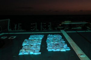 138 kgs of heroin, worth an estimated street value of around $108 million, siezed on 03 July 2014 by HMAS Newcastle off the East coast of Africa.  *** Local Caption *** HMAS Newcastle is deployed in the Middle East Region on Operation MANITOU, Australia's contribution to the US-led Combined Maritime Forces (CMF). The CMF undertakes patrols in the broader northwest Indian Ocean to both combat piracy and to intercept the trafficking of drugs that help fund international terrorism. The CMF also encourages regional cooperation to create a safer maritime environment. HMAS Newcastle is on her fifth deployment to the Middle East Region as is the 60th rotation of a RAN vessel since the first Gulf War in 1990.