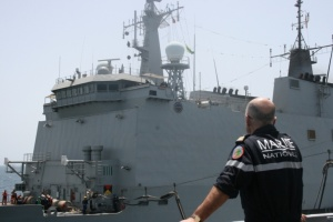 CCTF150 Capt Rene-Jean Crignola watches RAS with ESPS Galicia