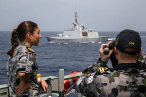 Lieutenant Ethan Wiseman takes range readings to the French Frigate, FS Sarcouf, as the two ships complete their personnel exchange visit in the Gulf of Oman. HMAS Newcastle is tasked to carry out maritime security patrols in the Indian Ocean in support of Operation MANITOU. *** Local Caption *** HMAS Newcastle is deployed in the Middle East Region on Operation MANITOU, Australia's contribution to the US-led Combined Maritime Forces (CMF). The CMF undertakes patrols in the broader northwest Indian Ocean to both combat piracy and to intercept the trafficking of drugs that help fund international terrorism. The CMF also encourages regional cooperation to create a safer maritime environment. HMAS Newcastle is on her fifth deployment to the Middle East Region as is the 60th rotation of a RAN vessel since the first Gulf War in 1990.