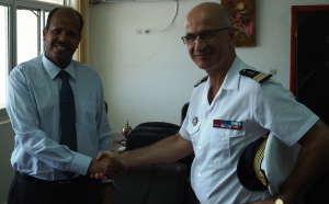 On the 7th of July, Captain René-Jean Crignola, French Navy, Commander CTF 150, meets with M. Mahamoud Ali Youssouf, Djiboutian Minister for Foreign Affairs.