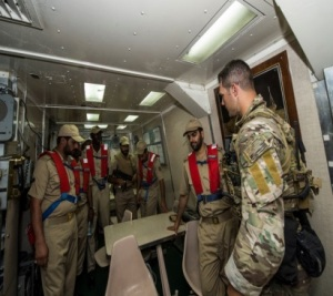 USCG advance interdiction team training on HMS Khalid