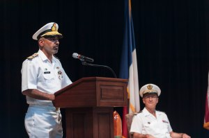 Rear Admiral Muhammad Moazzam Ilyas PN addresses the audience at the CTF150 Change of Command ceremony.