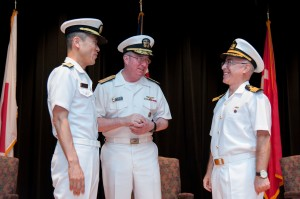 Rear Admiral Ito JMSDF, Vice Admiral Miller USN and Captain Ayhan Bay TN.