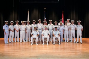 Outgoing members of CTF151 command team lead by JMSDF