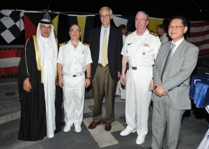 5746 - Assistant Under Secretary for GCC & WCA Dr. Dhafer Ahmed Al Omran, Captain Ayhan Bay, in the middle U.S. Ambassador to Bahrain H.E. Mr. William V. Roebuck, Vice Admiral John Miller  and on the right the Japanese Ambassador to Bahrain H.E. Mr. Kiyoshi Asako