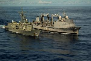 HMAS Newcastle (left) has the distance line passed to the French Replenishment Ship, FS Var, as they conduct RASAPS (Replenishment at Sea Approach's) in which to hone their joint mariner skills as both ships carry out maritime security patrols in the Indian Ocean. *** Local Caption *** HMAS Newcastle is deployed in the Middle East Region on Operation MANITOU, Australia's contribution to the US-led Combined Maritime Forces (CMF). The CMF undertakes patrols in the broader northwest Indian Ocean to both combat piracy and to intercept the trafficking of drugs that help fund international terrorism. The CMF also encourages regional cooperation to create a safer maritime environment.  HMAS Newcastle is on her fifth deployment to the Middle East Region and is the 60th rotation of a RAN vessel since the first Gulf War in 1990.