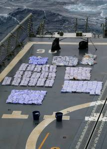 Narcotics from the second seizure are laid out on HMAS Newcastle's flight deck in preparation for destruction at sea as the ship and crew carry out maritime security patrols in the Indian Ocean in support of Operation MANITOU. *** Local Caption *** On 1 April 2015, HMAS Newcastle deployed to the Middle East region for 6 months in support of Operation MANITOU.  Royal Australian Navy ships have been continuously deployed to the Middle East since the start of the first Gulf War in 1990. HMAS Newcastle and her crew have commenced the 60th rotation and marks the fifth time HMAS Newcastle has deployed to the Middle East. Operation MANITOU is the Maritime Security Operation in the Middle East region and is Australia's contribution to counter terrorism, counter piracy and narcotics interdiction improving overall stability to that region, including the Persian Gulf, the Gulf of Aden, the Red Sea and parts of the Indian Ocean.