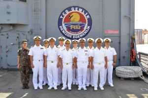 CCTF 151 Rear Admiral Bay and Captain Yoo together with Turkish and Republic of Korea Navy officers on-board TCG Gemlik.