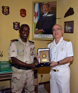 Djibouti Armed Forces Deputy Commander Brigadier General Daher Ali Mohamed with Rear Admiral Bay