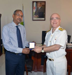 Djibouti Defence Minister Hassan Darar Houffaneh with Rear Admiral Bay