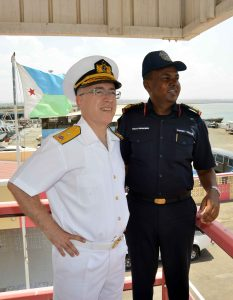 Rear Admiral Bay visits Djiboutian Coast Guard Commander Captain Wais Omar Bogoreh