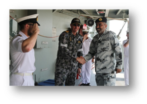 Rear Admiral Moazzam Ilyas is welcomed on board HMAS Melbourne by the Commanding Officer Commander Bill Waters.