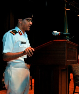 Captain Suliman Al-Enazi Royal Saudi Naval Force addresses the audience at the CTF151 change of command ceremony.