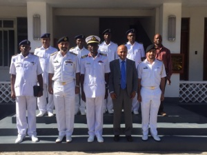 Rear Admiral Laswai with Rear Admiral Ilyas and staff at the Tanzanian Navy HQ
