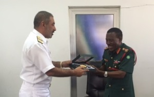 Rear Admiral Moazzam Ilyas with Major General J A Mwakibolwa, Chief of Operations and Training, TPDF
