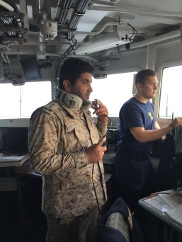 Lt Ibrahim Alhuthaily of the RSNF on the Bridge of HMS St Albans
