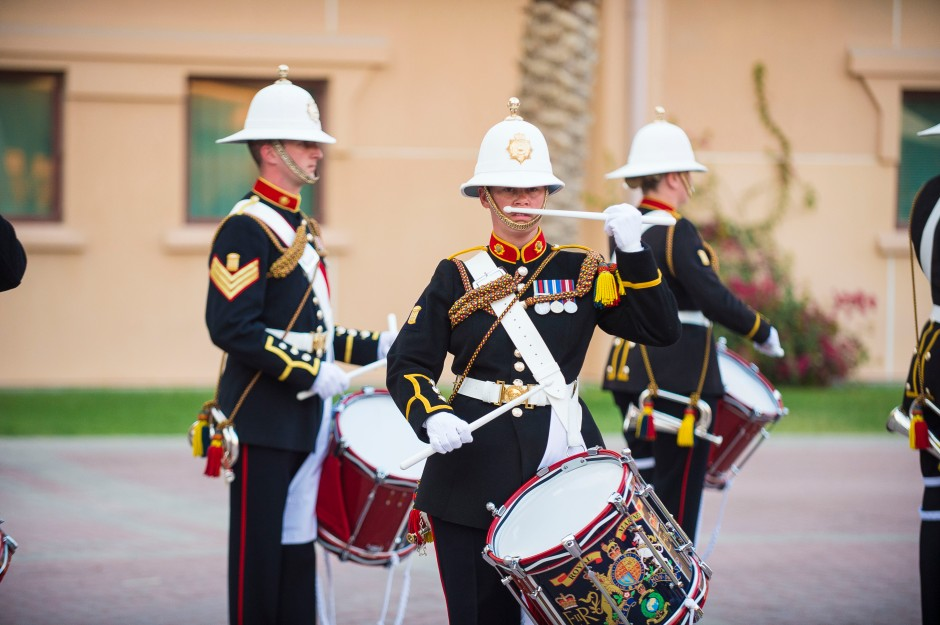 {filename base} MANAMA, Bahrain (April 26, 2016) Royal Marines Band Corps of Drums (U.S. Navy photo by Mass Communication Specialist 1st Class Kenneth R. Hendrix/Released)