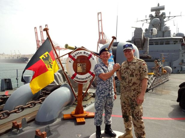 CCTF 151, Rear Admiral Ken Cheong meets CTF 465, Rear Admiral Jan Kaack on board FGS Bayern in Salalah, Oman - 2