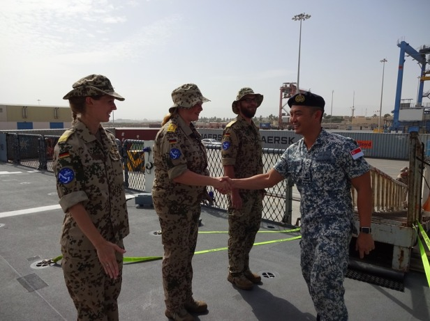 CCTF 151, Rear Admiral Ken Cheong receives a warm welcome on board FGS Bayern at Salalah, Oman