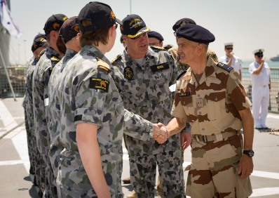 Rear Admiral Olivier Lebas, Commander of Combined Task Force 150 visits HMAS Arunta whilst alongside in Bahrain.