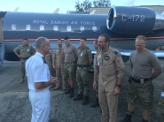 CCTF 150 RAdm Lebas is introduced by the detachment commander Maj Christen Joergensen to the crew of the RDAF Challenger in the Seychelles