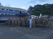 Commander CTF 150 Rear Admiral Olivier Lebas with Royal Danish Air Force Challenger Crew