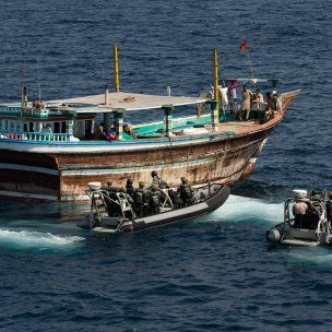 HMAS Arunta prepares to board the fishing vessel (dhow) suspected of carrying illegal narcotics while on patrol in the Middle East region. *** Local Caption *** HMAS Arunta seized more than 800kg of illegal narcotics during maritime security operations in the Middle East region (MER). Under the direction of the Canadian-Australian lead Combined Task Force (CTF) 150, HMAS Arunta intercepted and boarded a fishing vessel (dhow) operating in a manner consistent with possible illegal activity. HMAS Arunta operates as part of the multi-national Combined Maritime Forces, predominately tasked to support Combined Task Force 150 for counter-terrorism and maritime security operations. Arunta is deployed on Operation MANITOU, supporting international efforts to promote maritime security, stability and prosperity in the Middle East region (MER). Arunta is on her third deployment to the MER and is the 64th rotation of a Royal Australian Navy vessel to the region since 1990.