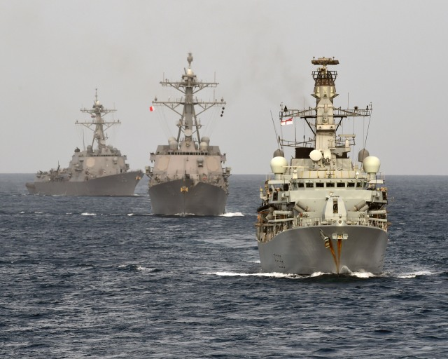 HMS Northumberland at sea with Bahraini vessels during IMCMEX 14.