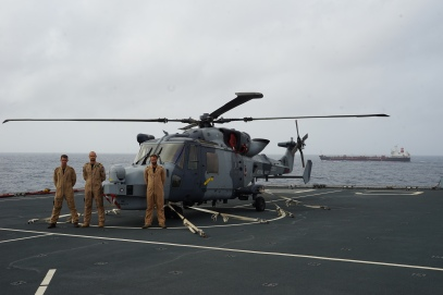 'Black Jack' and crew on the flight deck of RFA Cardigan Bay