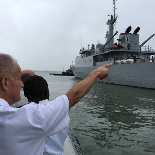 RAdm Lebas is given a tour around the Kenyan Naval Base in Mombasa